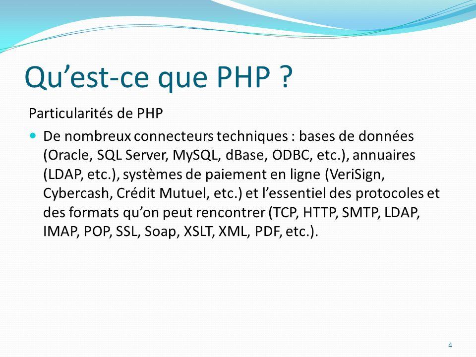 Quest-ce que PHP ? Particularités de PHP De nombreux connecteurs techniques : bases de données (Oracle, SQL Server, MySQL, dBase, ODBC, etc.), annuair
