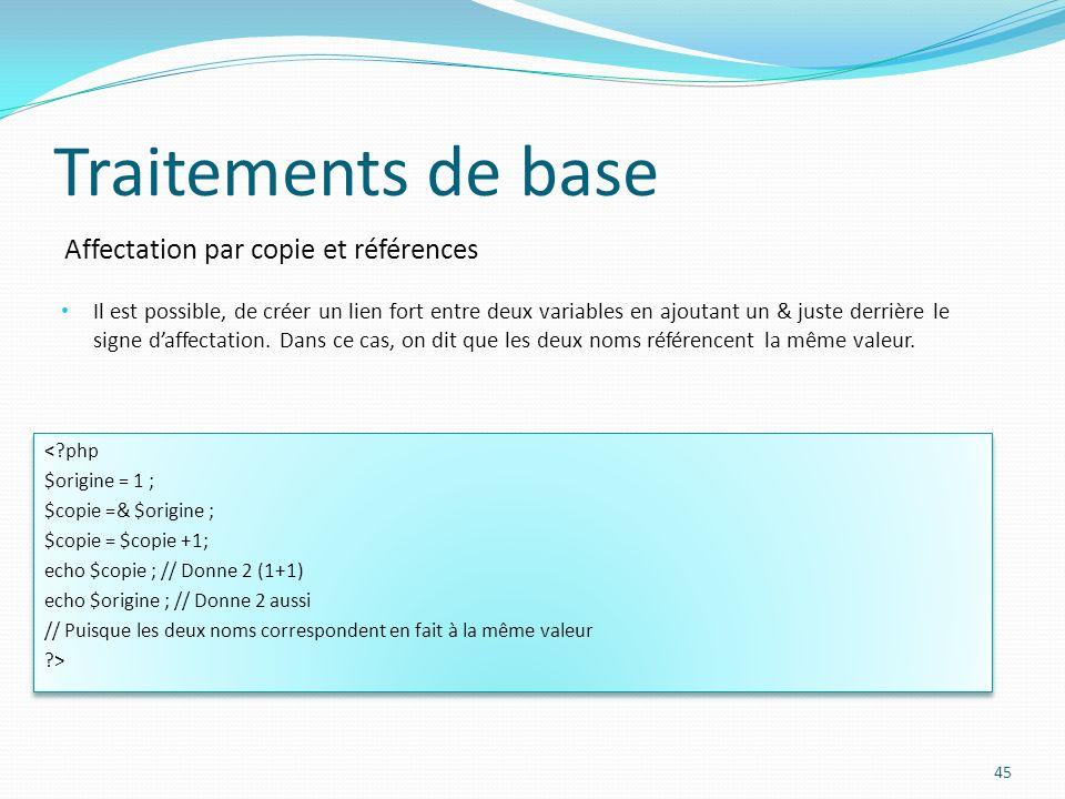 Affectation par copie et références Traitements de base Il est possible, de créer un lien fort entre deux variables en ajoutant un & juste derrière le signe daffectation.