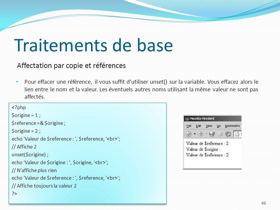 Affectation par copie et références Traitements de base Pour effacer une référence, il vous suft dutiliser unset() sur la variable.