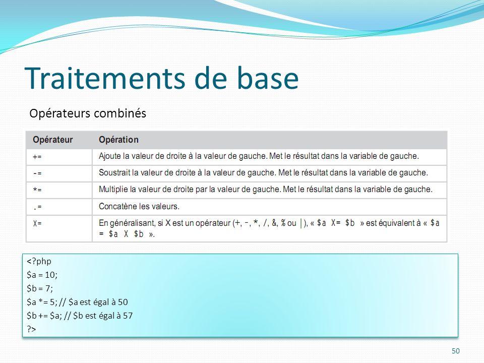 Opérateurs combinés Traitements de base 50 < php $a = 10; $b = 7; $a *= 5; // $a est égal à 50 $b += $a; // $b est égal à 57 > < php $a = 10; $b = 7; $a *= 5; // $a est égal à 50 $b += $a; // $b est égal à 57 >