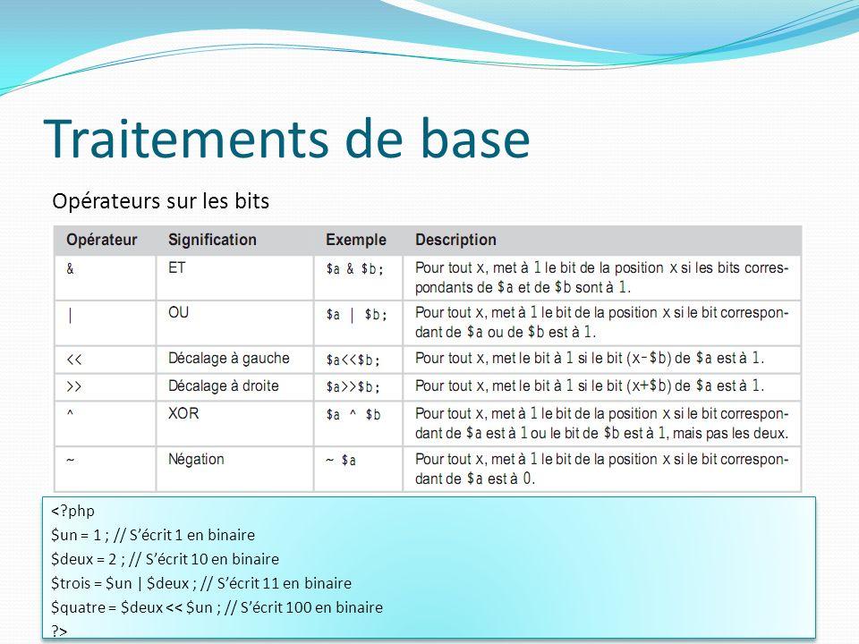 Opérateurs sur les bits Traitements de base 54 <?php $un = 1 ; // Sécrit 1 en binaire $deux = 2 ; // Sécrit 10 en binaire $trois = $un | $deux ; // Sé
