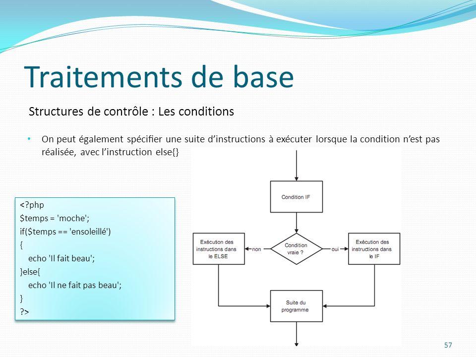 Structures de contrôle : Les conditions Traitements de base On peut également spécier une suite dinstructions à exécuter lorsque la condition nest pas