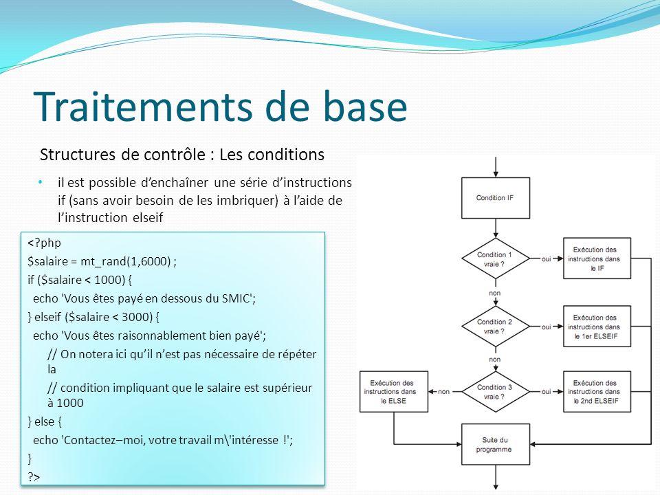 Structures de contrôle : Les conditions Traitements de base il est possible denchaîner une série dinstructions if (sans avoir besoin de les imbriquer)
