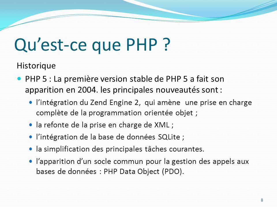 Quest-ce que PHP ? Historique PHP 5 : La première version stable de PHP 5 a fait son apparition en 2004. les principales nouveautés sont : lintégratio