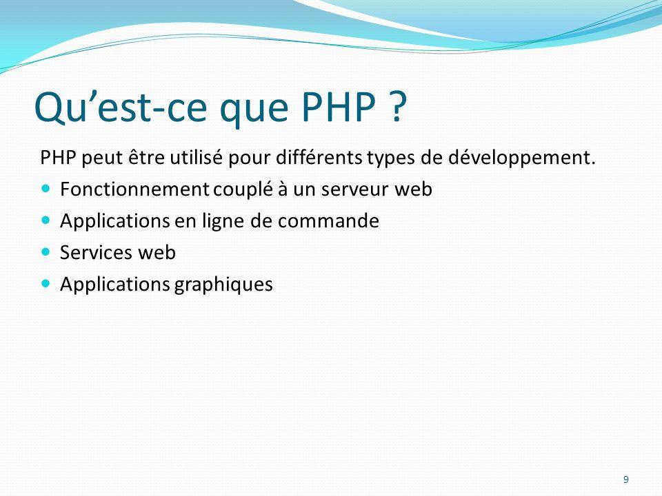 Quest-ce que PHP ? PHP peut être utilisé pour différents types de développement. Fonctionnement couplé à un serveur web Applications en ligne de comma