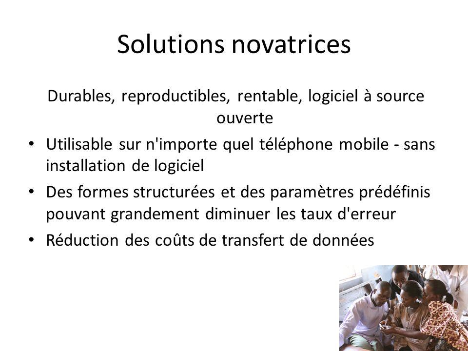 Solutions novatrices Durables, reproductibles, rentable, logiciel à source ouverte Utilisable sur n'importe quel téléphone mobile - sans installation