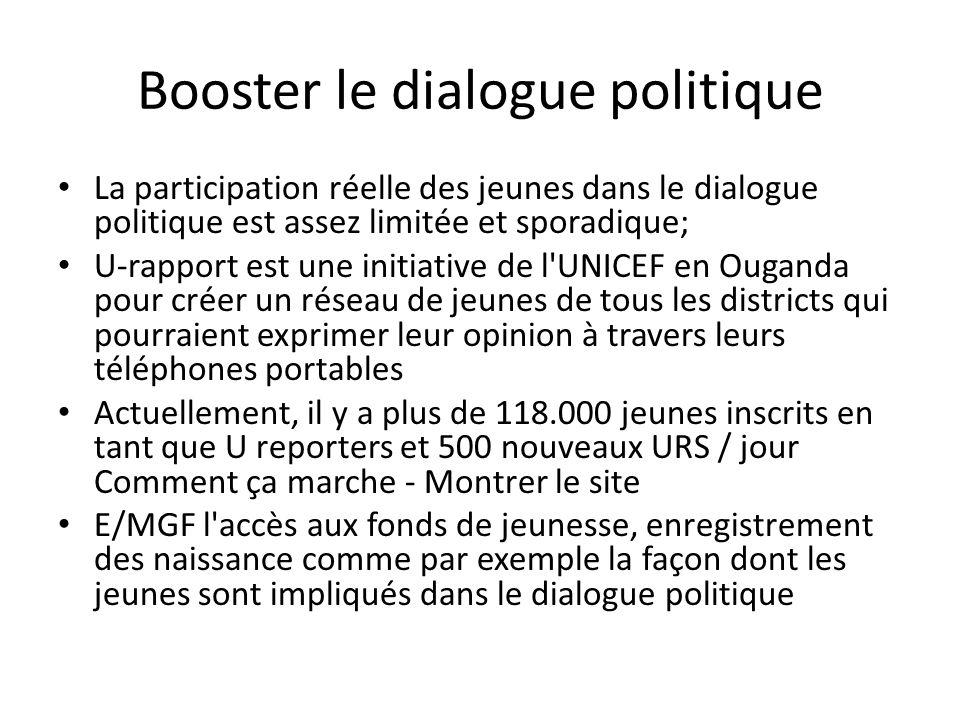 Booster le dialogue politique La participation réelle des jeunes dans le dialogue politique est assez limitée et sporadique; U-rapport est une initiat
