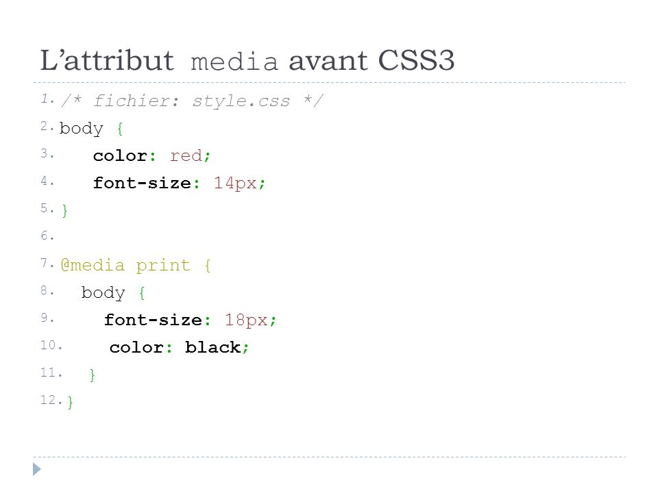 Lattribut media avant CSS3 1./* fichier: style.css */ 2.body { 3.