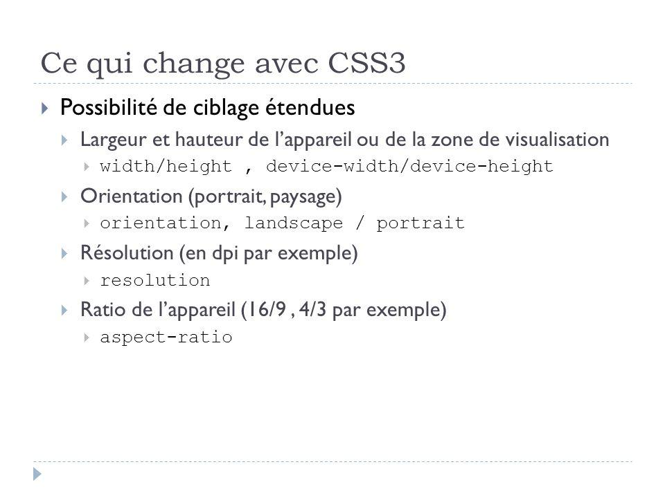 Ce qui change avec CSS3 Possibilité de ciblage étendues Largeur et hauteur de lappareil ou de la zone de visualisation width/height, device-width/devi