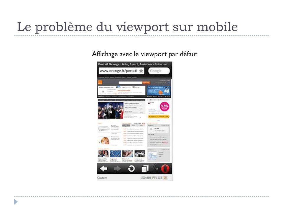 Le problème du viewport sur mobile Affichage avec le viewport par défaut