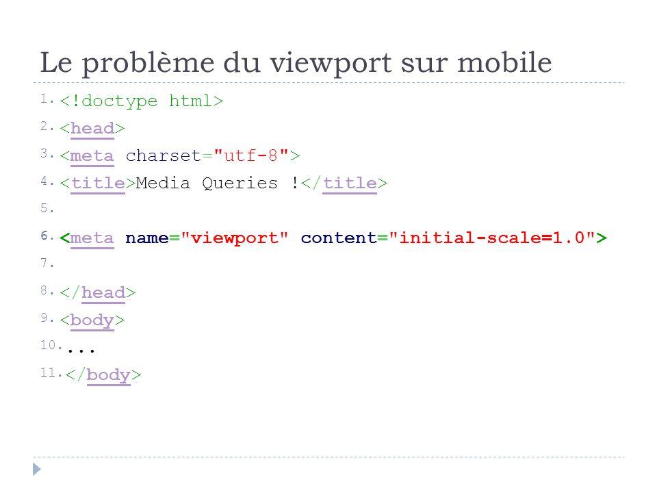 Le problème du viewport sur mobile 1. 2. head 3. meta 4. Media Queries ! title 5. 6. meta 7. 8. head 9. body 10.... 11. body