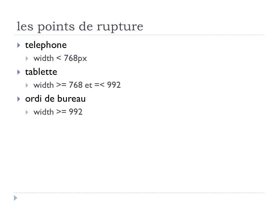 les points de rupture 1.@media screen and (max-width:768px){} 2.@media screen and(min-width: 768px) and (max- width: 992px){} 3.@media screen and (min-width: 992px){}