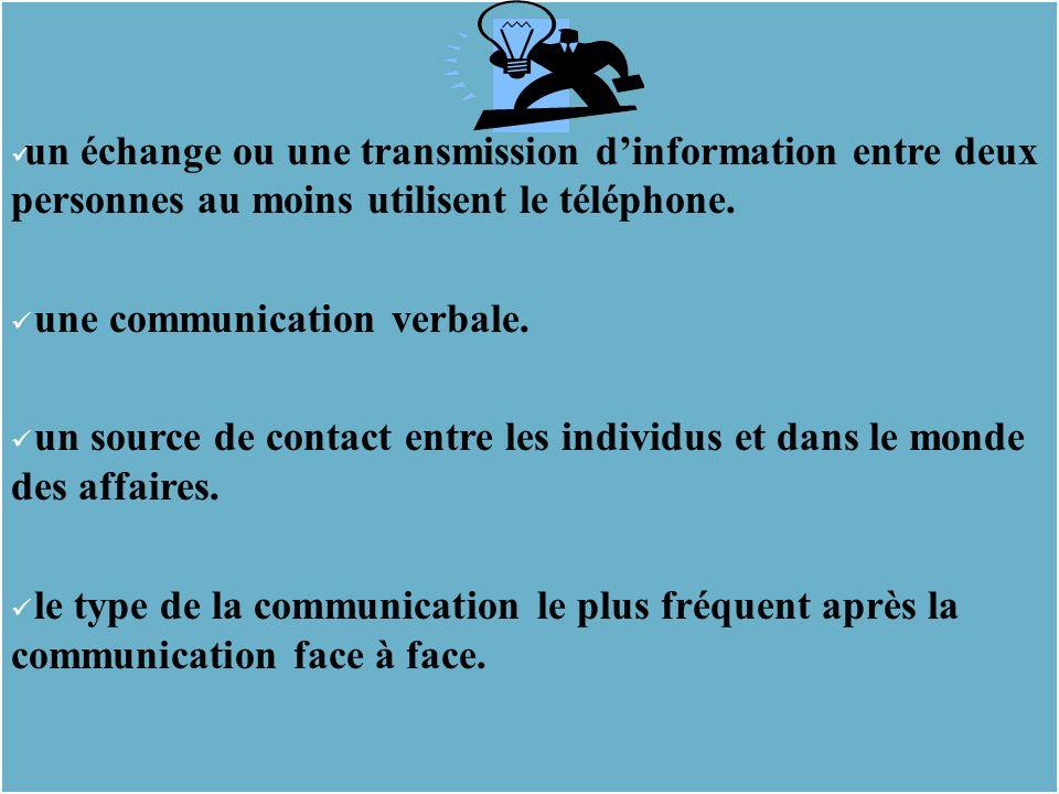 un échange ou une transmission dinformation entre deux personnes au moins utilisent le téléphone.