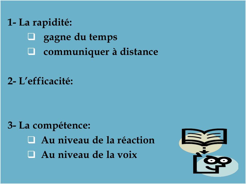 1- La rapidité: gagne du temps communiquer à distance 2- Lefficacité: 3- La compétence: Au niveau de la réaction Au niveau de la voix 1- La rapidité: gagne du temps communiquer à distance 2- Lefficacité: 3- La compétence: Au niveau de la réaction Au niveau de la voix