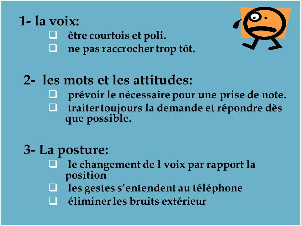 1- la voix: être courtois et poli.ne pas raccrocher trop tôt.