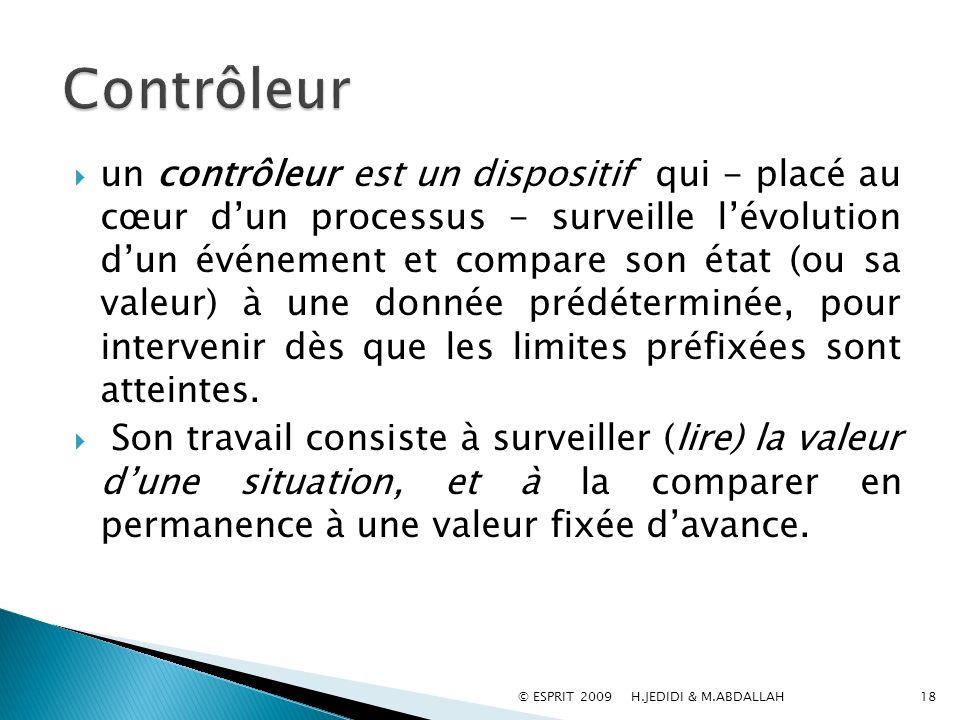 un contrôleur est un dispositif qui - placé au cœur dun processus - surveille lévolution dun événement et compare son état (ou sa valeur) à une donnée