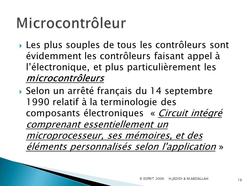 Les plus souples de tous les contrôleurs sont évidemment les contrôleurs faisant appel à lélectronique, et plus particulièrement les microcontrôleurs