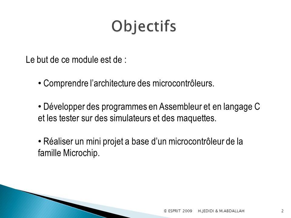 © ESPRIT 2009 H.JEDIDI & M.ABDALLAH2 Le but de ce module est de : Comprendre larchitecture des microcontrôleurs. Développer des programmes en Assemble