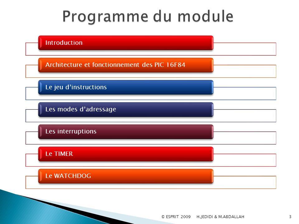 © ESPRIT 2009 H.JEDIDI & M.ABDALLAH3 IntroductionArchitecture et fonctionnement des PIC 16F84Le jeu dinstructionsLes modes dadressageLes interruptions
