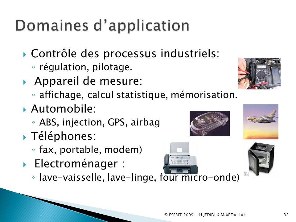 Contrôle des processus industriels: régulation, pilotage. Appareil de mesure: affichage, calcul statistique, mémorisation. Automobile: ABS, injection,
