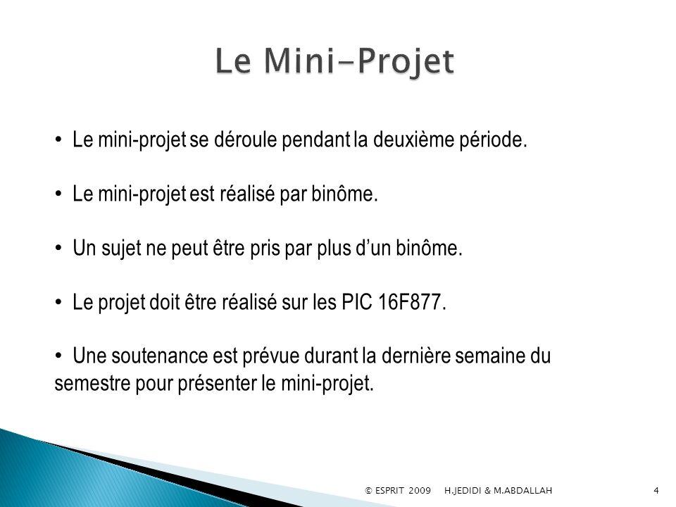 © ESPRIT 2009 H.JEDIDI & M.ABDALLAH4 Le mini-projet se déroule pendant la deuxième période. Le mini-projet est réalisé par binôme. Un sujet ne peut êt