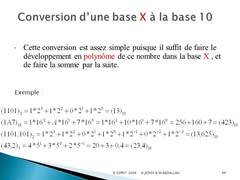 44 Cette conversion est assez simple puisque il suffit de faire le développement en polynôme de ce nombre dans la base X, et de faire la somme par la