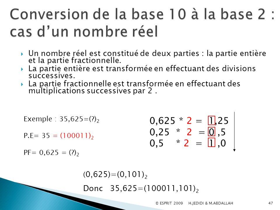 47 Un nombre réel est constitué de deux parties : la partie entière et la partie fractionnelle. La partie entière est transformée en effectuant des di