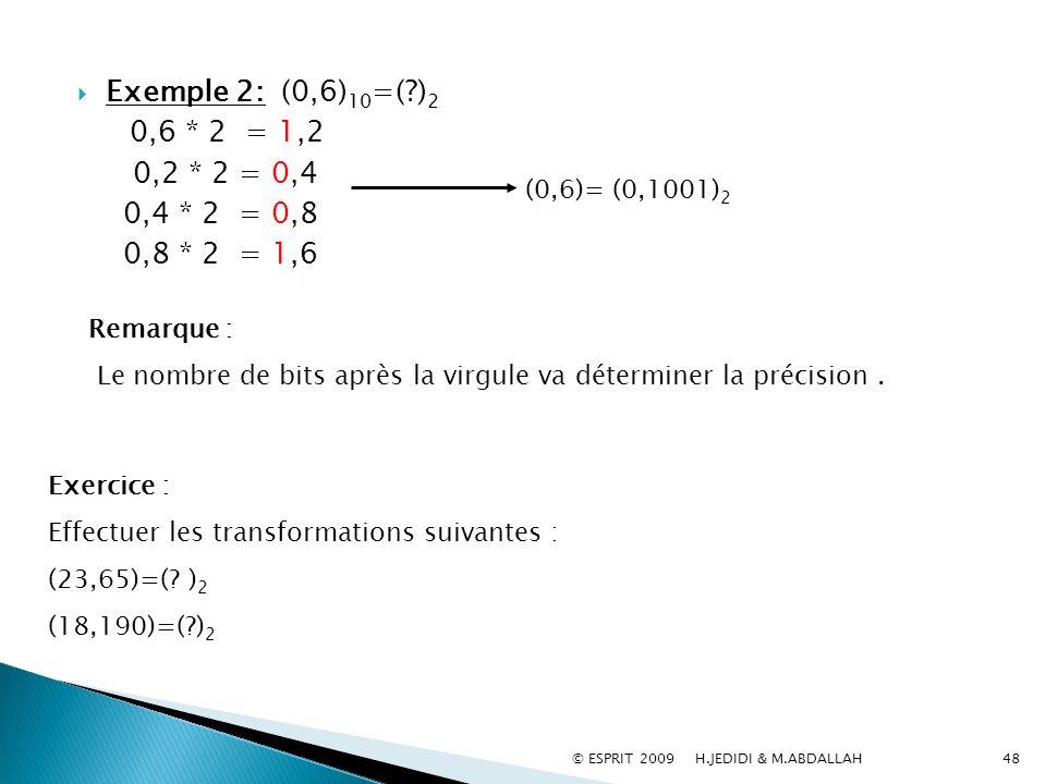 48 Exemple 2: (0,6) 10 =(?) 2 0,6 * 2 = 1,2 0,2 * 2 = 0,4 0,4 * 2 = 0,8 0,8 * 2 = 1,6 (0,6)= (0,1001) 2 Remarque : Le nombre de bits après la virgule