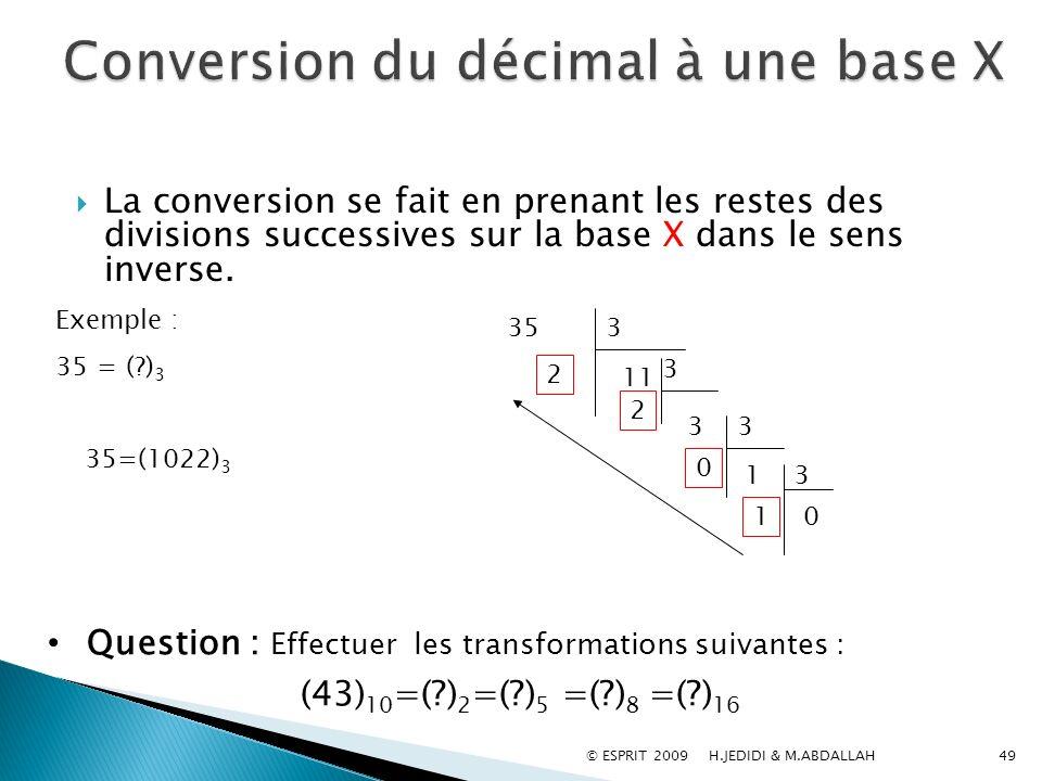 49 La conversion se fait en prenant les restes des divisions successives sur la base X dans le sens inverse. 353 11 2 3 3 2 3 1 0 3 0 1 Exemple : 35 =