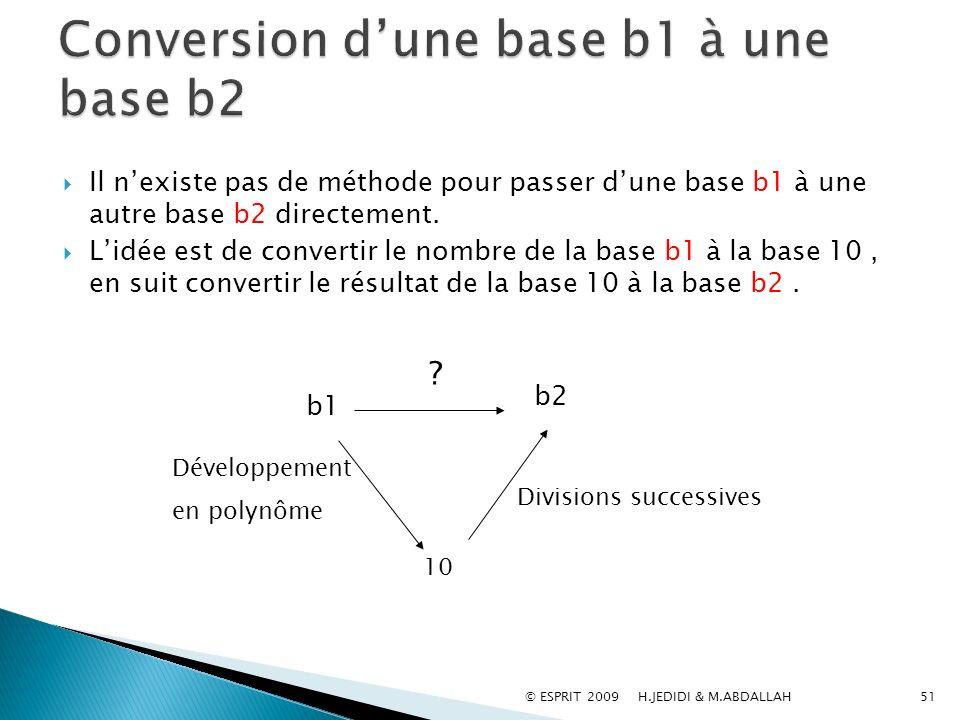 51 Il nexiste pas de méthode pour passer dune base b1 à une autre base b2 directement. Lidée est de convertir le nombre de la base b1 à la base 10, en
