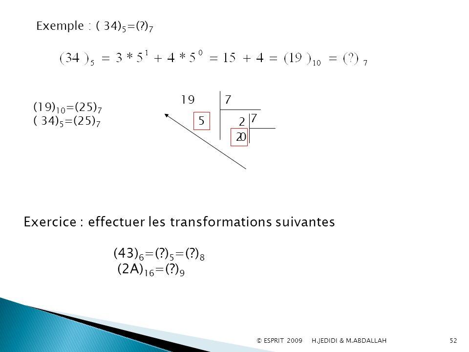 52 Exemple : ( 34) 5 =(?) 7 197 2 5 7 0 2 (19) 10 =(25) 7 ( 34) 5 =(25) 7 Exercice : effectuer les transformations suivantes (43) 6 =(?) 5 =(?) 8 (2A)