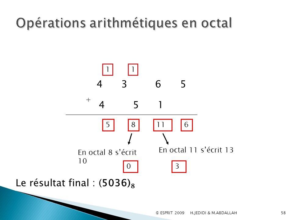 58 Le résultat final : (5036) 8 4 3 6 5 + 4 5 1 11 En octal 11 sécrit 13 3 1 8 En octal 8 sécrit 10 0 1 56 © ESPRIT 2009 H.JEDIDI & M.ABDALLAH