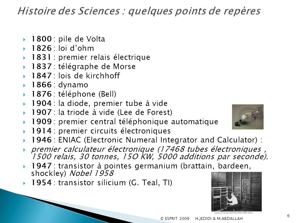 1800 : pile de Volta 1826 : loi dohm 1831 : premier relais électrique 1837 : télégraphe de Morse 1847 : lois de kirchhoff 1866 : dynamo 1876 : télépho