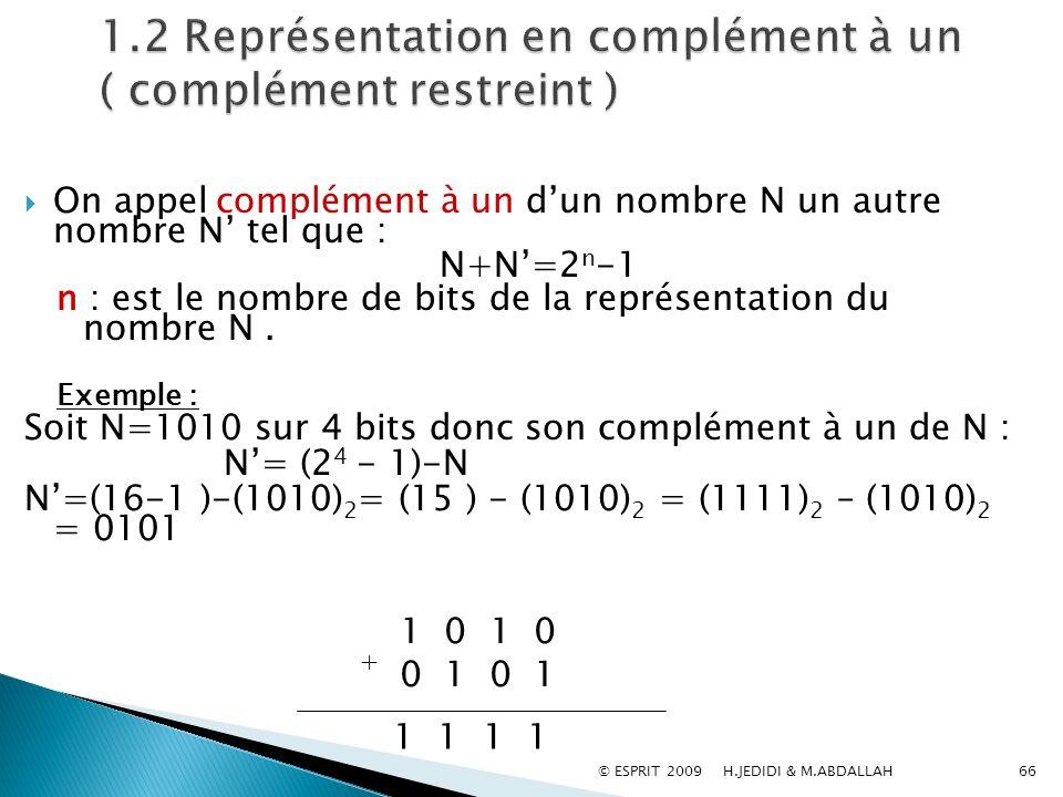 On appel complément à un dun nombre N un autre nombre N tel que : N+N=2 n -1 n : est le nombre de bits de la représentation du nombre N. Exemple : Soi