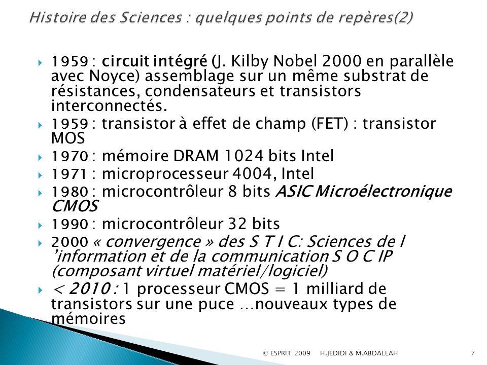 1959 : circuit intégré (J. Kilby Nobel 2000 en parallèle avec Noyce) assemblage sur un même substrat de résistances, condensateurs et transistors inte