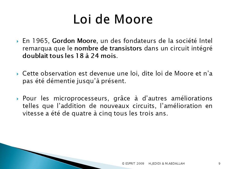 En 1965, Gordon Moore, un des fondateurs de la société Intel remarqua que le nombre de transistors dans un circuit intégré doublait tous les 18 à 24 m