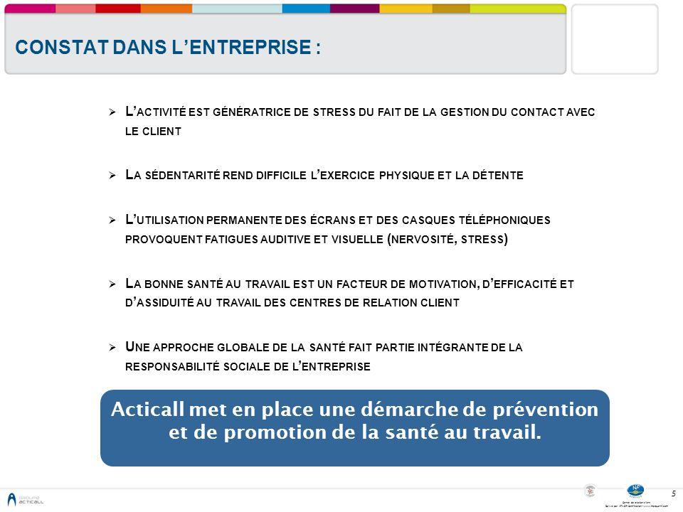Centre de relation client Délivré par AFNOR Certification - www.marque-nf.com 6 THEMES FAISANT PARTIE DU PROGRAMME DE PROMOTION DE LA SANTE AU TRAVAIL I NTERVENTION SUR LE STRESS ET LES SITUATIONS DIFFICILES A XES D INTERVENTION S ANTÉ : N UTRITION P LAN ANTI - TABAC A DDICTIONS DIVERSES ( ALCOOL, STUPÉFIANTS …) S ANTÉ AU TRAVAIL : G ESTES ET POSTURES C ONTRÔLES AUDITIFS ET VISUELS T ROUBLES MUSCULOSQUELETTIQUES