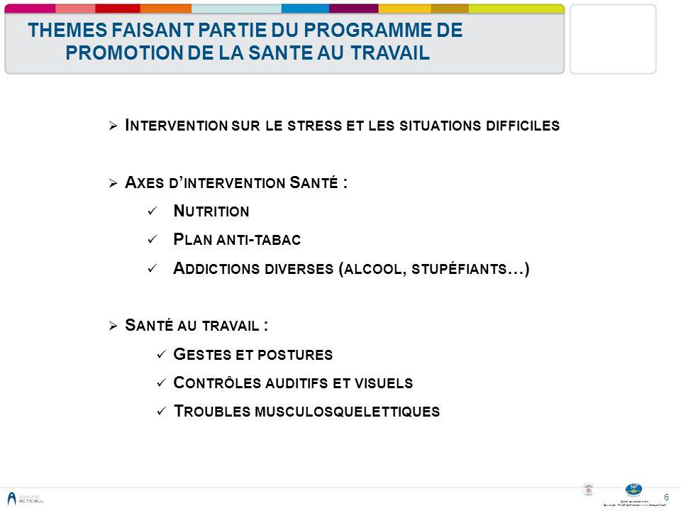 Centre de relation client Délivré par AFNOR Certification - www.marque-nf.com 6 THEMES FAISANT PARTIE DU PROGRAMME DE PROMOTION DE LA SANTE AU TRAVAIL