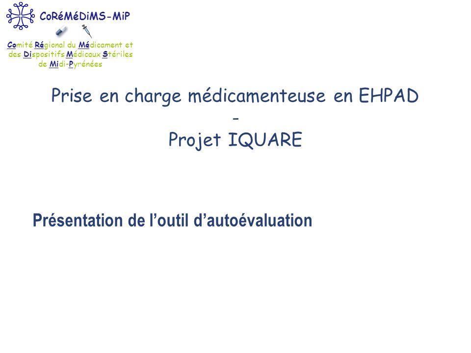 Comité Régional du Médicament et des Dispositifs Médicaux Stériles de Midi-Pyrénées CoRéMéDiMS-MiP Présentation de loutil dautoévaluation Prise en cha