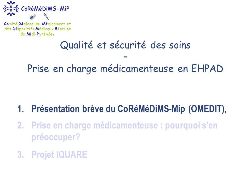 Comité Régional du Médicament et des Dispositifs Médicaux Stériles de Midi-Pyrénées CoRéMéDiMS-MiP Qualité et sécurité des soins – Prise en charge méd