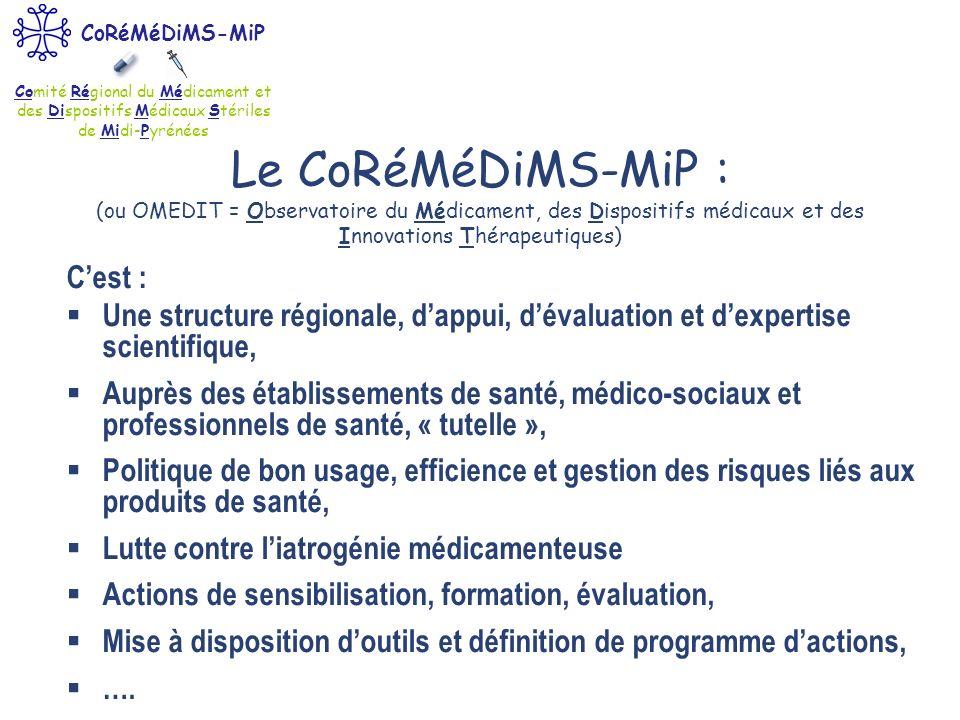 Comité Régional du Médicament et des Dispositifs Médicaux Stériles de Midi-Pyrénées CoRéMéDiMS-MiP Le CoRéMéDiMS-MiP : (ou OMEDIT = Observatoire du Mé
