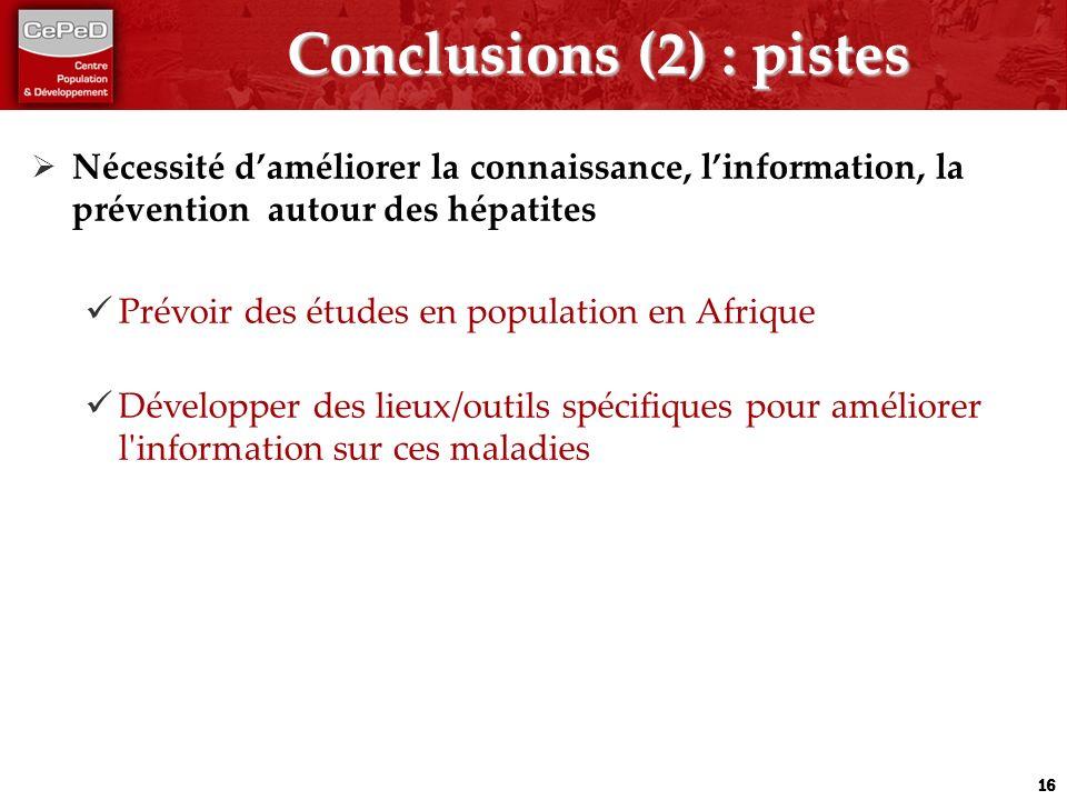 Conclusions (2) : pistes Nécessité daméliorer la connaissance, linformation, la prévention autour des hépatites Prévoir des études en population en Af