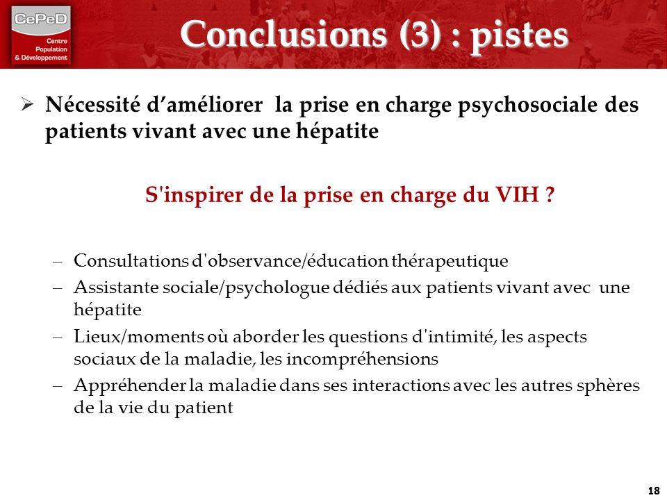 Conclusions (3) : pistes Nécessité daméliorer la prise en charge psychosociale des patients vivant avec une hépatite S'inspirer de la prise en charge
