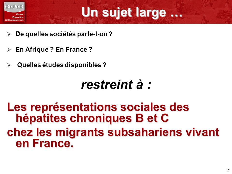 2 Un sujet large … Un sujet large … De quelles sociétés parle-t-on ? En Afrique ? En France ? Quelles études disponibles ? restreint à : Les représent