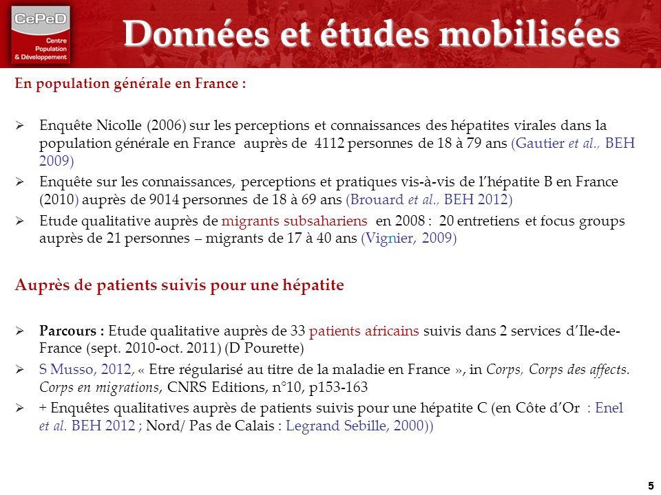 Données et études mobilisées En population générale en France : Enquête Nicolle (2006) sur les perceptions et connaissances des hépatites virales dans