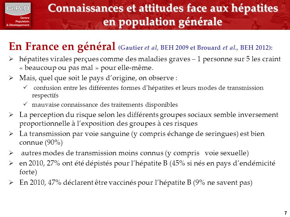 Connaissances et attitudes face aux hépatites en population générale En France en général (Gautier et al, BEH 2009 et Brouard et al., BEH 2012): hépatites virales perçues comme des maladies graves – 1 personne sur 5 les craint « beaucoup ou pas mal » pour elle-même.