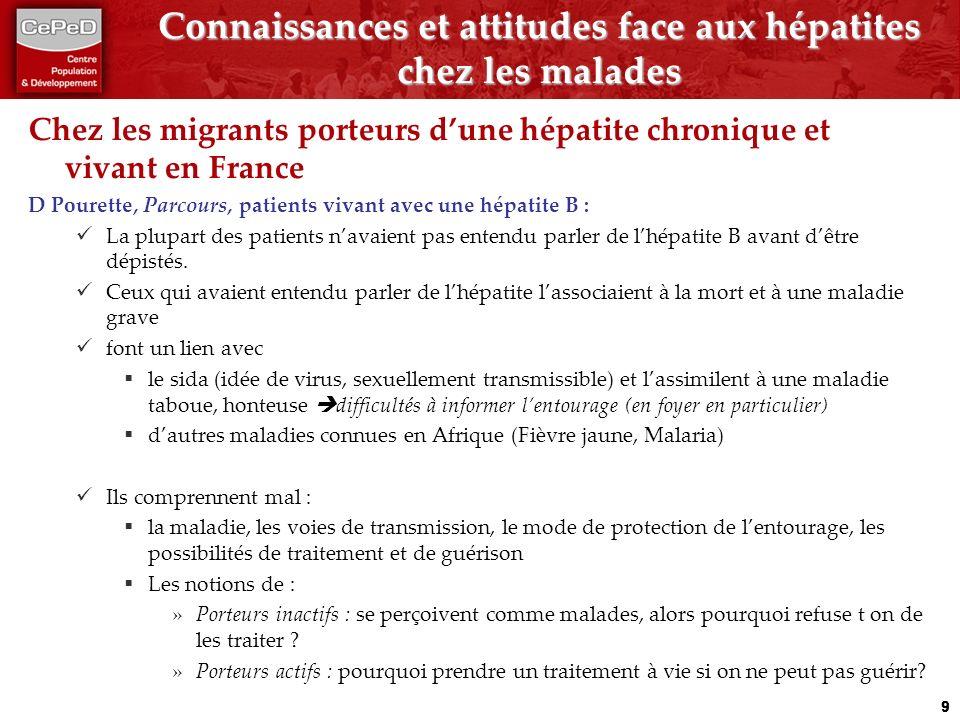 Connaissances et attitudes face aux hépatites chez les malades Chez les migrants porteurs dune hépatite chronique et vivant en France D Pourette, Parcours, patients vivant avec une hépatite B : La plupart des patients navaient pas entendu parler de lhépatite B avant dêtre dépistés.