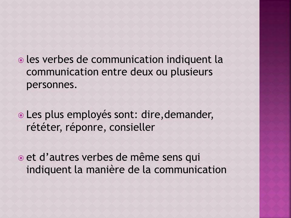 les verbes de communication indiquent la communication entre deux ou plusieurs personnes. Les plus employés sont: dire,demander, rététer, réponre, con