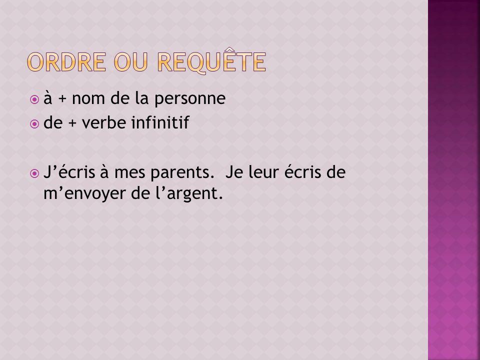 à + nom de la personne de + verbe infinitif Jécris à mes parents.