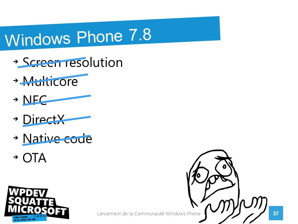 Screen resolution Multicore NFC DirectX Native code OTA 37Lancement de la Communauté Windows Phone Windows Phone 7.8